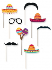 Kit photobooth mexicano 8 accessoires