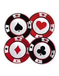 8 Petites assiettes en carton big poker 18 cm