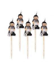 5 Bougies sur pic footballeurs blancs et noirs 8 cm
