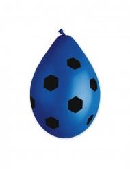 10 Ballons en latex foot bleus 30 cm