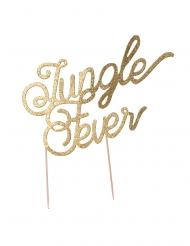 Cake topper en bois jungle fever doré 20 cm