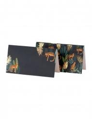 8 Marque-places en carton léopard et feuillages verts et dorures 9 x 5 cm