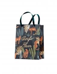 4 Sacs cadeaux avec ruban jungle fever verts et dorures 20 x 15 x 9 cm