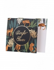8 Invitations en carton jungle fever verts et dorures 14 x 14 cm