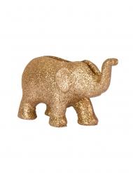 4 Marque-places éléphant en résine paillettes dorées 7 x 4 cm