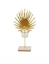 Bougeoir feuille de palme doré sur socle en bois 16,5 x 32 cm