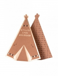 8 Invitations en carton tipi kraft vert marron et dorure 15,5 x 12,5 cm
