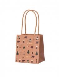 4 Sacs cadeaux indian forest kraft vert marron et dorure 10 x 7 x 11 cm