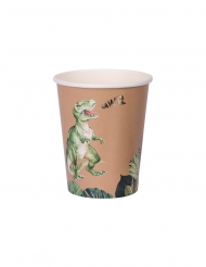 8 Gobelets en carton dinosaure verts et dorés 250 ml