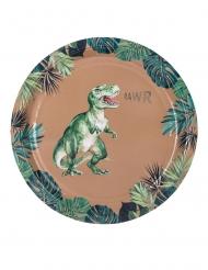 8 Assiettes en carton dinosaure vertes et dorures 23 cm