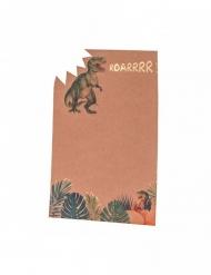 8 Invitations en carton dinosaure kraft 18 x 12 cm