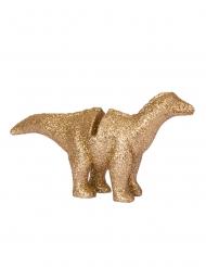 4 Marque-places en résine dinosaure paillettes dorés 9,5 x 5 cm