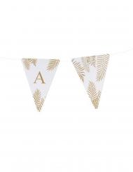 5 Fanions lettres blanc fougères paillettes dorées 15 x 21 cm