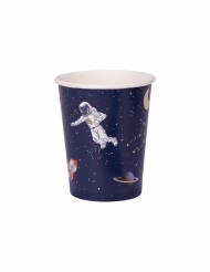 8 Gobelets en carton astronaute marine et dorure 250 ml