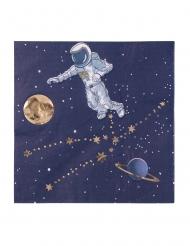 16 Serviettes en papier astronaute marine et dorure 33 x 33 cm