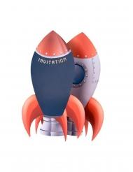 8 Invitations en carton fusée marine, rouge et dorure 18 x 11,5 cm