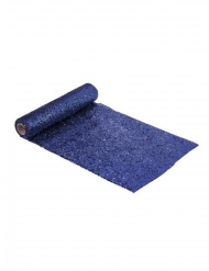 Chemin de table en plastique pailleté bleu nuit 3 m