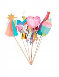 Kit photobooth multicolore tassels et paillettes dorées 7 accessoires
