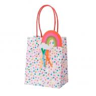 4 Sacs cadeaux pois multicolores tassels et paillettes dorées 15 x 12 x 8 cm