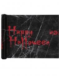 Chemin de table en tissu happy halloween noir et rouge 5 m