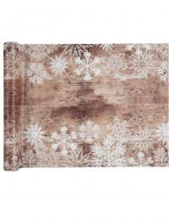 Chemin de table en tissu effet bois et flocons blancs 30 cm x 5 m