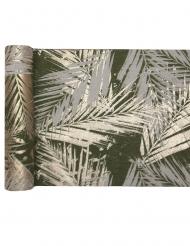 Chemin de table en coton végétal métal kaki doré 3 m