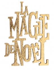 10 Confettis en bois la magie de noël métal doré 3,5 x 6 cm