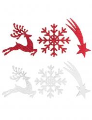 12 Confettis en bois village de noël blancs et rouges 3 x 3 cm