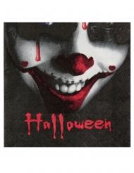 20 Petites serviettes en papier happy halloween noires 16,5 x 16,5 cm