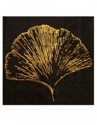 20 Petites serviettes en papier feuillage métal noires 12,5 x 12,5 cm