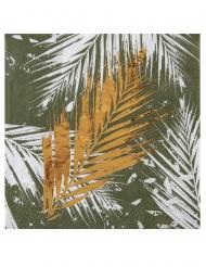20 Petites serviettes en papier végétal métal kaki dorées 12,5 x 12,5 cm