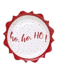 10 Petites assiettes en carton Ho Ho Ho ! blanches et rouges 18 cm