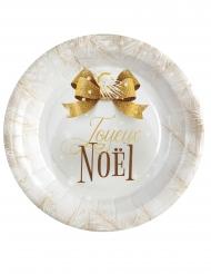10 Assiettes en carton boule de noël blanc et doré 23 cm