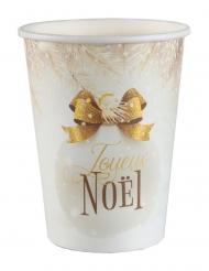 10 Gobelets en carton boule de noël blanc et or 7,8 x 9,7 cm 12 cl