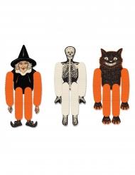3 Pantins en papier à suspendre halloween 35 cm