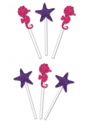 6 Cake toppers étoiles et hippocampes pailletés 10 - 20 cm