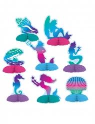 8 Minis centre de table en papier sirène 7 - 10 cm
