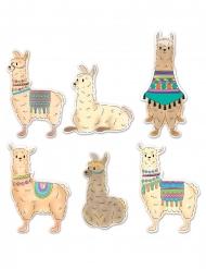 6 Cutouts en carton lamas 22 - 33 cm