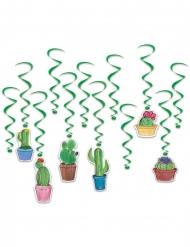12 Suspensions en spirales cactus verts 43 - 83 cm