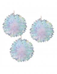 3 Suspensions en papier boules alvéolées iridescentes 40 cm