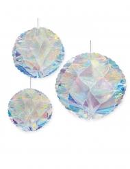 3 Boules en papier iridescentes 20, 25 et 30 cm