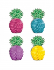 8 Mini centres de table en papier ananas multicolores 12 cm