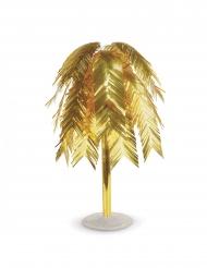Centre de table métallique feuilles tropicales dorées 60 cm