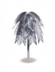 Centre de table métallique feuilles tropicales argentées 60 cm