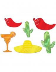 6 Décorations en carton fiesta mexicaine 20 - 38 cm