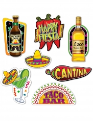7 Cutouts en carton fiesta mexicaine 22 - 40 cm
