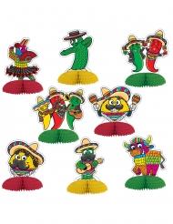 8 Minis centre de table en papier fiesta mexicaine 10 cm