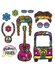 Kit photobooth années 60 hippie 11 accessoires