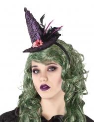 Serre-tête chapeau de sorcière violet adulte