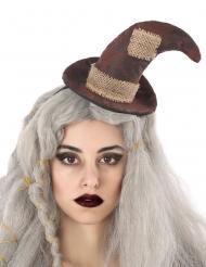 Serre-tête chapeau de sorcière épouvantail adulte